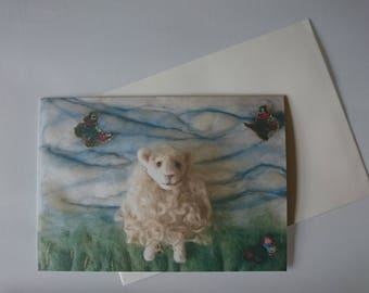 Sheep Greeting Card 'Ewe Give Me Butterflies' : A5 with envelope.
