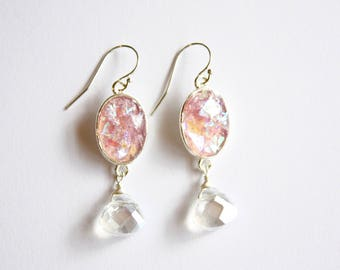 Pink Lavender Crystal Earrings, Ready to ship