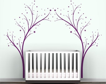 Twinkle Tree Gate Wall Decal - Tree Stars Decal - Violet