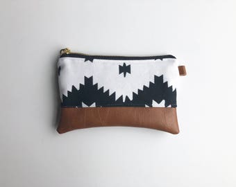 Aztec white and black coin purse with brown faux leather