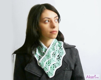 Lacy cowl scarf crochet Pattern. Circular scarf / neck warmer in 2 colors _ M12