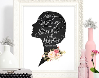 PRINTED // Wall art, room decor, housewarming, download // Bible Verse Proverbs Woman Silhouette // #8889P