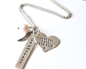Necklace - Family Necklace - Sterling Silver - Hand Stamped Names - Godmother - New Baby - Mother - Angel Wings - Heart Tag - Names