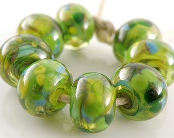 Harvest Swirls SRA Lampwork Handmade Artisan Glass Donut/Round Beads Made to Order Set of 8 8x12mm