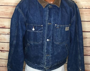 Men's 90s vintage Polo Country blanket line denim jean jacket