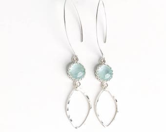 Aquamarine and Hammered Silver Earrings - Nickel Free Sterling Silver Dangle Earrings with Aquamarine - Long Earrings - March Birthstone