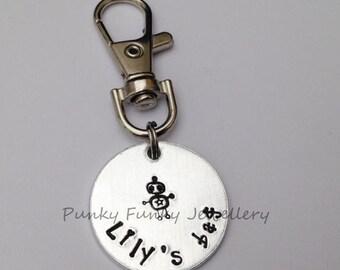 Child's bag tag - zipper pull - back to school - name keyring - starting school gift - preschool - kindergarten - nursery - bag charm