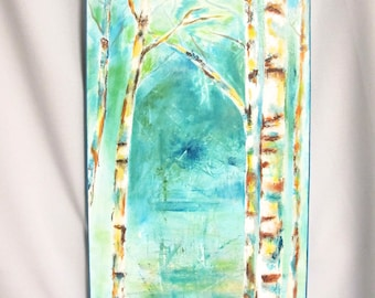 "Original Abstract Trees Acrylic on canvas 12"" x 24"" - Brush and Knife  (#102)"