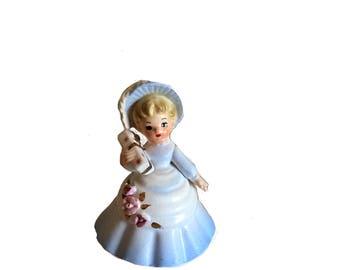 Enesco Import, Enesco Bloomer, Enesco Figurine, Japan Figurine, Bloomer Blue Dress, 50s Bloomer Figurine, Wedding Gift