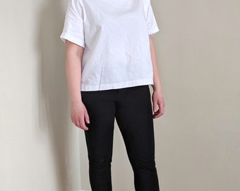Britta Blouse, White Linen Cotton Top, Boxy Top, Woven T-shirt, Relaxed Fit, Sustainable Fashion, Ethically Made, Eco Friendly