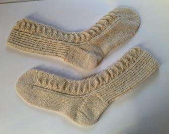 Nordic hand knit wool socks
