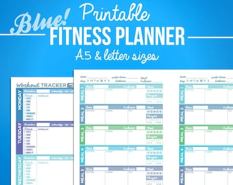 Printable Fitness Planner Diet Diary - Nutrition & Workout Bundle - A5 + Letter Sizes - Digital PDF - Weight Loss, Exercise Journal