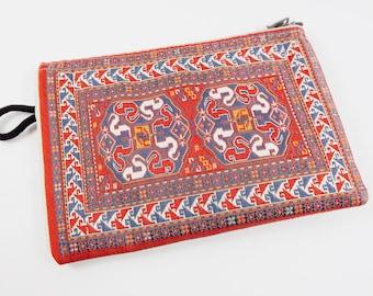 Exotic Rug Carpet Bag Purse - Orange Red White Blue - Alternative Jewelry Packaging - No:31 - 1 PC