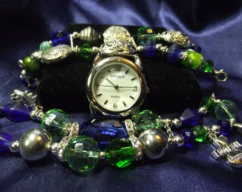 Gossip Woman's Watch & 2 Beaded Bands with or Without Charms B16-B023 GO HAWKS!