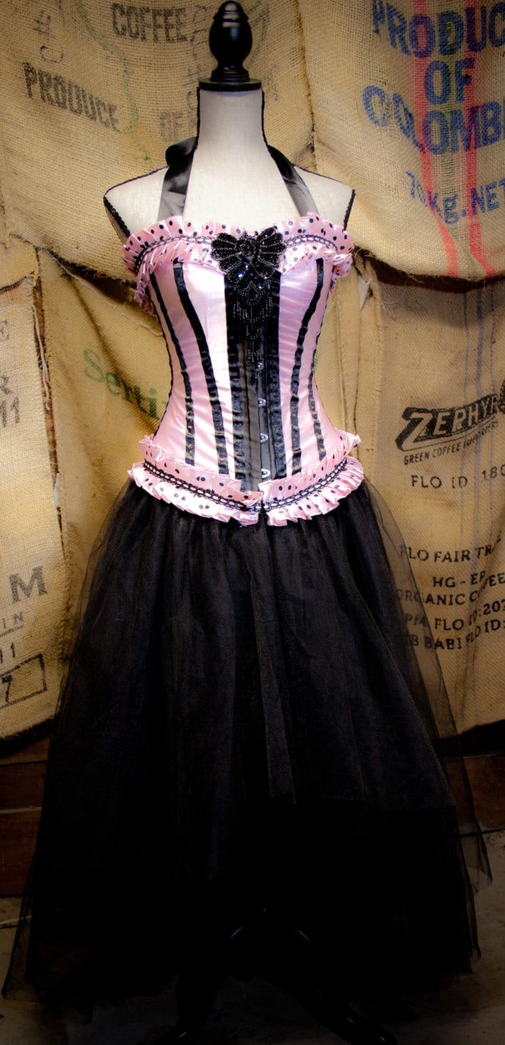 Gothic Steampunk Corset dress pink & Black tulle skirt prom
