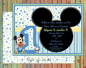 Baby Mickey Mouse Inspired Birthday Personalized Invitations (Printed)