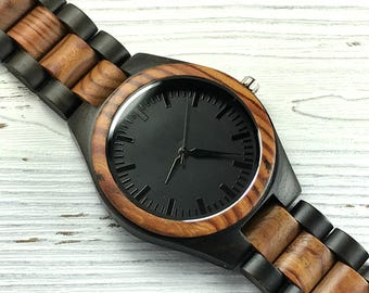 Personalized Wood Watch, Engraved Men's Wooden Watch, Custom Anniversary Gift, Wedding Gift for the Groom, Christmas Gift, Groomsmen Gift