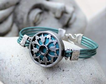 Bohemian Leather Bracelet - Silver, Turquoise