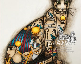 Cleo the Egyptian Cat - fantasy digi line art design of an Egyptian inspired cat adorned with hieroglyphs instant download