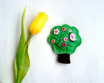 Spring tree ornament felt, with pink button flower and bird, Easter, spring decor, handmade, Housewarming home decoration
