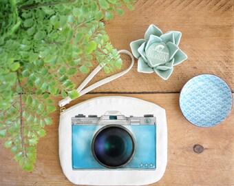 Camera Canvas Zip Bag, Makeup Bag, Coin Purse, Small Accessory Pouch, Stocking Filler, Camera Print