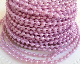 4 Yards Lavender Faux Pearl Trim Bead Accent for Crafting, Scrapbooking, Decoration
