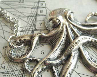 Big Octopus Necklace Shiny Silver Tone Long Length Rolo Chain Nautical Steampunk Inspired Assemblage Jewelry Summer Vacation