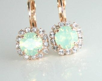 Mint crystal earrings,swarovski mint earrings,mint wedding jewelry,mint green earrings,swarovski earrings,rose gold earrings,mint bridesmaid