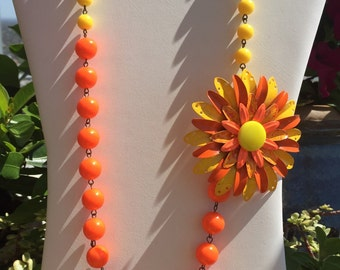 Upcycled orange and yellow vintage flower necklace