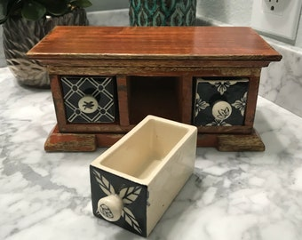 Apothecary Spice Cabinet With 3 Ceramic Drawers Distressed Wood, Wooden Herb Spice Box, Tea Bag Storage, Medicine Cabinet, Item #568202149