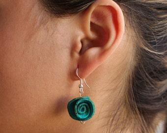Orange Peel Small Rose Earrings Eco Friendly Sustainable Unique Earrings