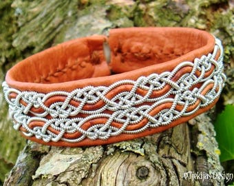 Lapland Fashion Sami Bracelet MUNINN Viking Cuff Cognac Brown Leather Unisex Bangle Handmade Nordic Pewter Jewelry