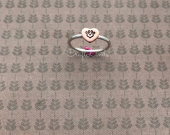 stacked sterling silver ring, with copper heart, love heart paw print , cat, dog, hand stamped, hand made, custom, made to order and to fit