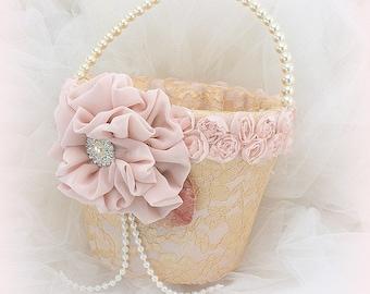 Lace Flower Girl Basket Rose Gold Blush Pearl Handle Elegant Vintage Style