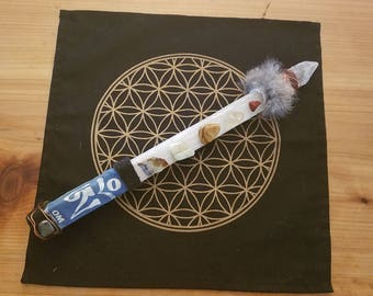 Magic staff ritual tool selenite OM wand
