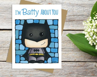 Batman Greeting Card - Justice League - DC Comics - Cute Card - Thinking of You - Card for Him - Pun Stationary - Sci-fi Movie Card