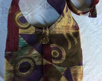 Hobo Bag, Geometric bag, Boho Bag, Shoulder Bag, Sling Bag, Bucket Bag, Repurposed Materials