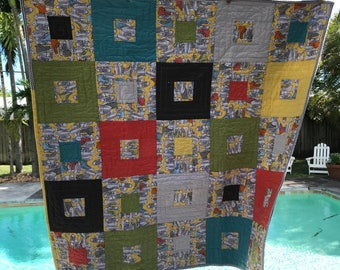 "Bee ""Sneaky"" Child's Quilt - Gender Neutral - Modern - Square in a Square"
