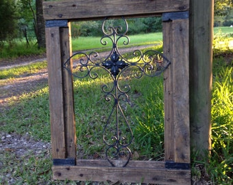Rustic chic inspired CROSS handmade Hand assembled hand-painted upcycled