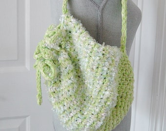 Shoulder Market Tote, Lime Green Crochet Shoulder Bag, Beach Bag, Green Crocheted Bag, Boho, Hand Crochet Bag
