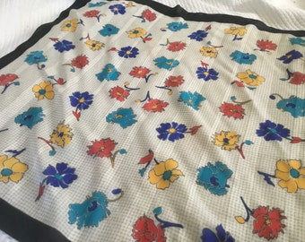 Vintage Large Scarf Bright Floral Square Colorful