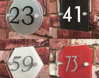 Modern House Sign Door Number Glass Effect Acrylic Plaque