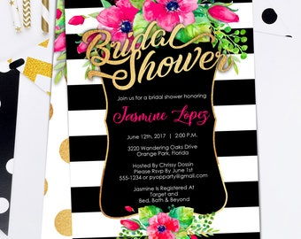 Bridal Shower Invitations - Black White Gold with Floral - Spade Inspired - Kate Invites - Modern Shower Invites - Edit Yourself today!