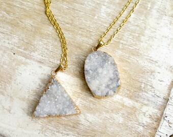 Fluorite Druzy Necklace / Druzy Cluster