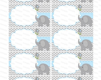 Blank insert for boy baby shower invitation thank you notes diaper raffle elephant baby shower boy baby shower (49dtb) instant download