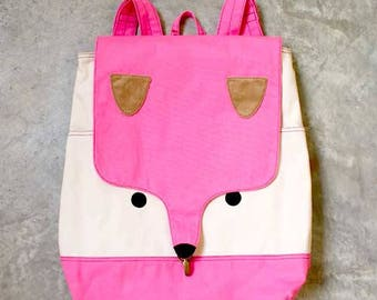 Pink Fox Backpack CLEARANCE SALE Fox Bag Laptop Padded Backpack Large Backpack Diaper Backpack Vegan Fabric Backpack Women Men Teen Backpack