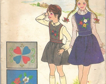 """Vintage 1974 Butterick 3821 Girl's Jumper, Applique & Embroidery Transfers Sewing Pattern Size 12 Breast 20"""""""