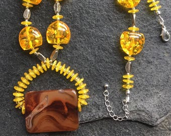 Amber and Smokey Topaz Necklace