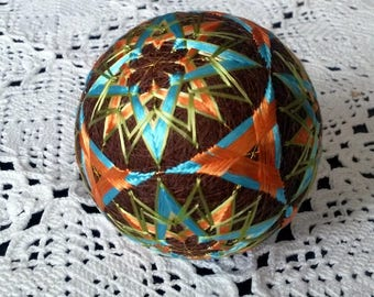 Wedding gift, Japanese Temari ball, Decorative ornament, Oriental home decor, Colors of October, Orange and blue flowers, Modern art, Stars