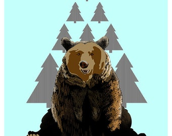 L'illustration A4 ours imprimée sur papier Fine Art / Bear illustration print on Fine Art paper